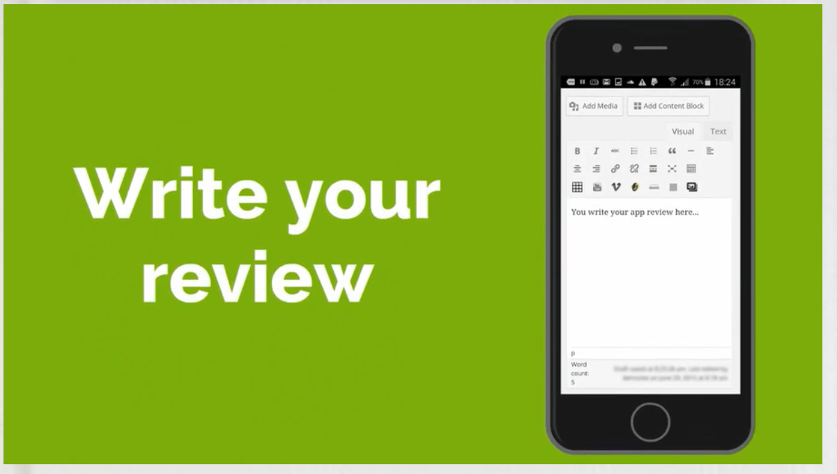 an interface to write your review online after testing the apps