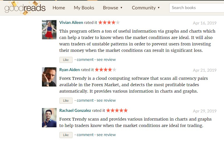 Customer reviews on Goodread.com