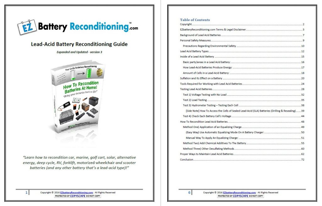 EZ Battery Reconditioning - Table of contents