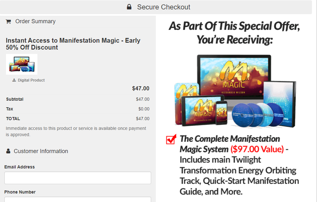 Manifestation Magic Review - Payment interface
