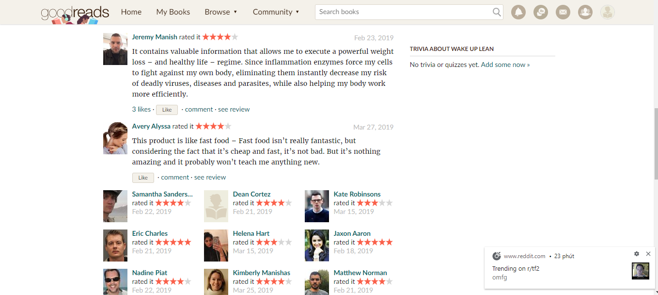 On the Goodread website - Wake Up Lean Review