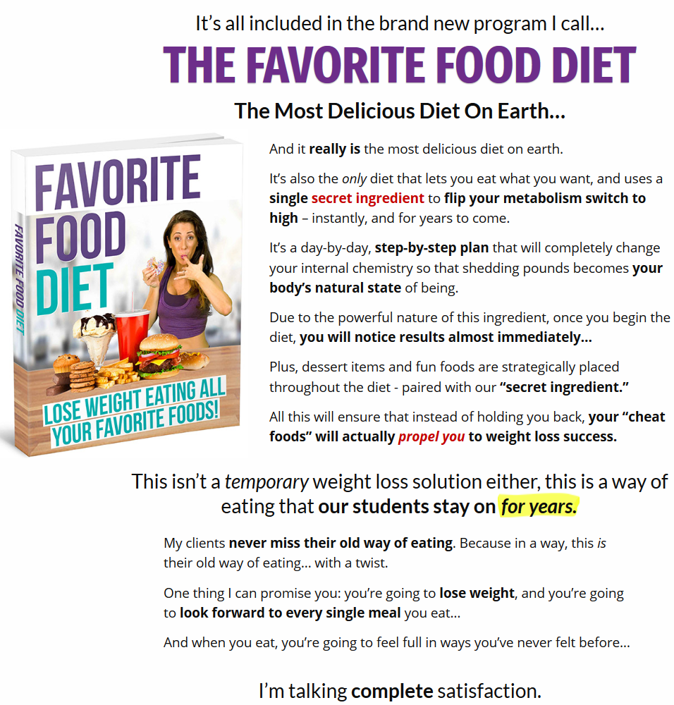 The Favorite Food Diet Review- Book
