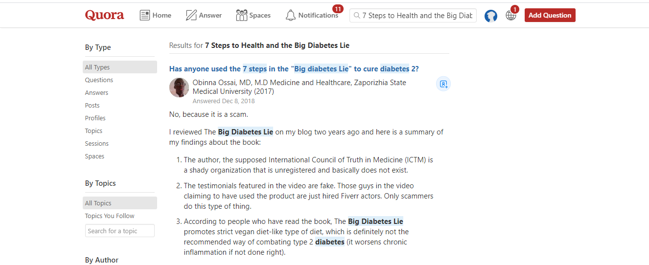 Big Diabetes Lie Review- quora