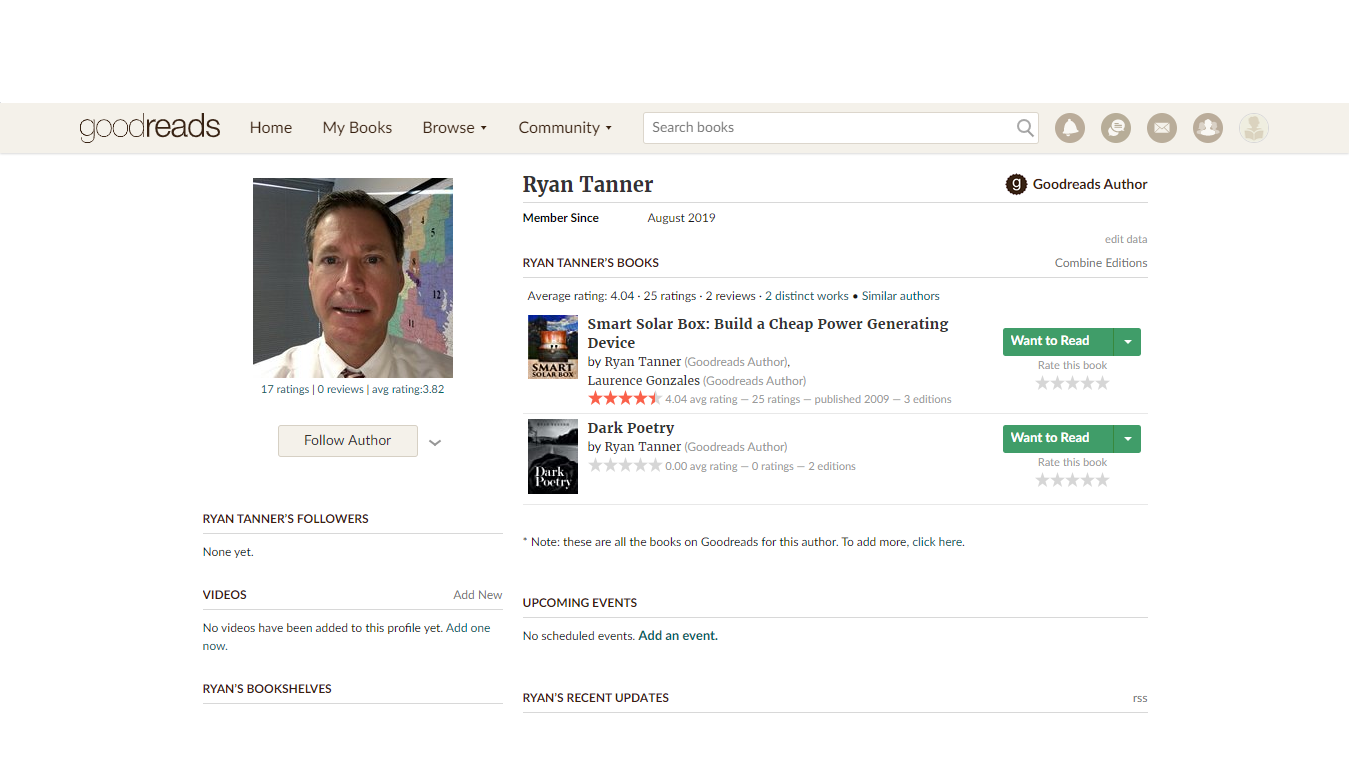 About the author on Goodreads