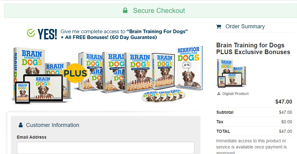 Brain Training For Dogs payment