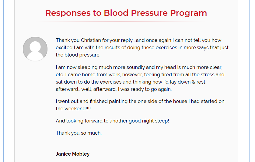 Feedback from Janice Mobley - the blood pressure program review