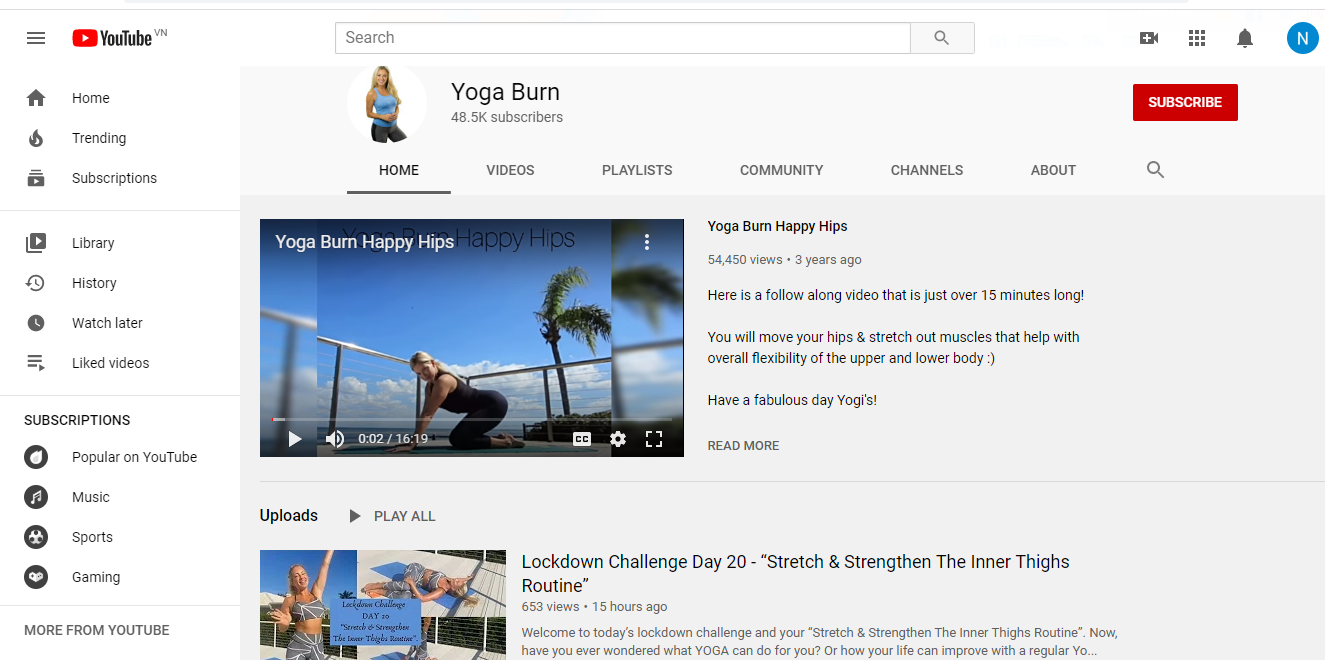 Yoga Burn Challenge Review- youtube of author