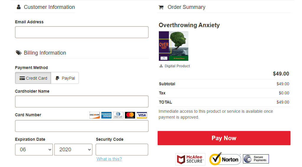 Payment of Overthrowing Anxiety