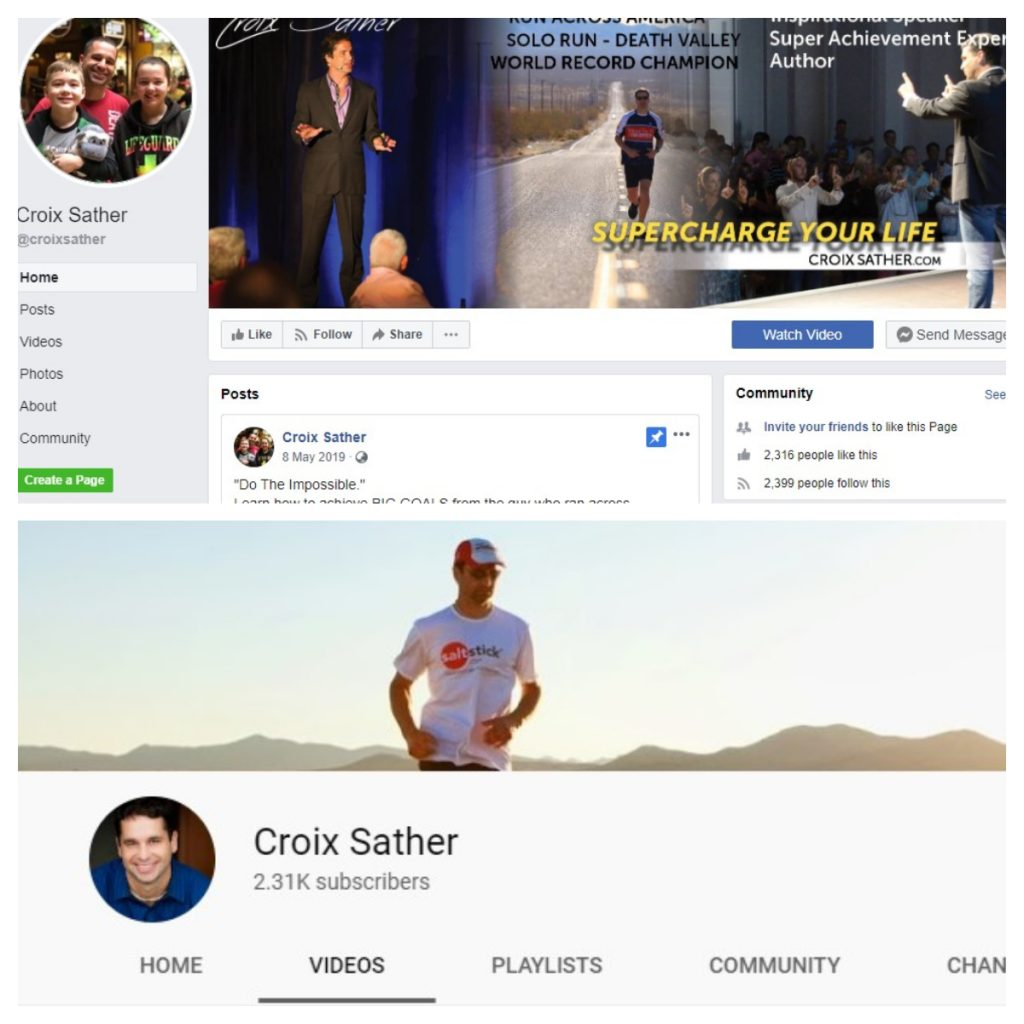 Croix Sather's Facebook page and Youtube channel with 2,300+ followers