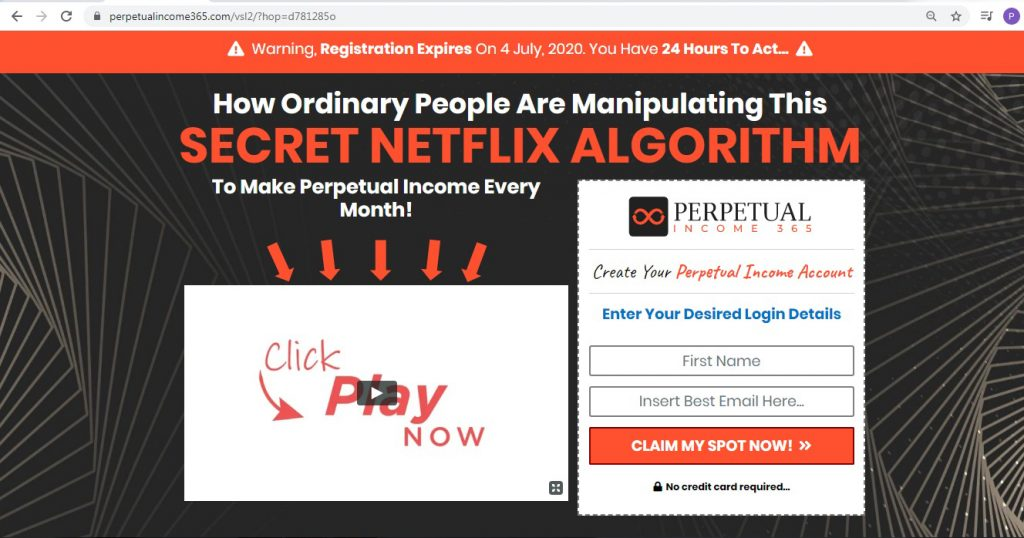 Perpetual income 365 web page