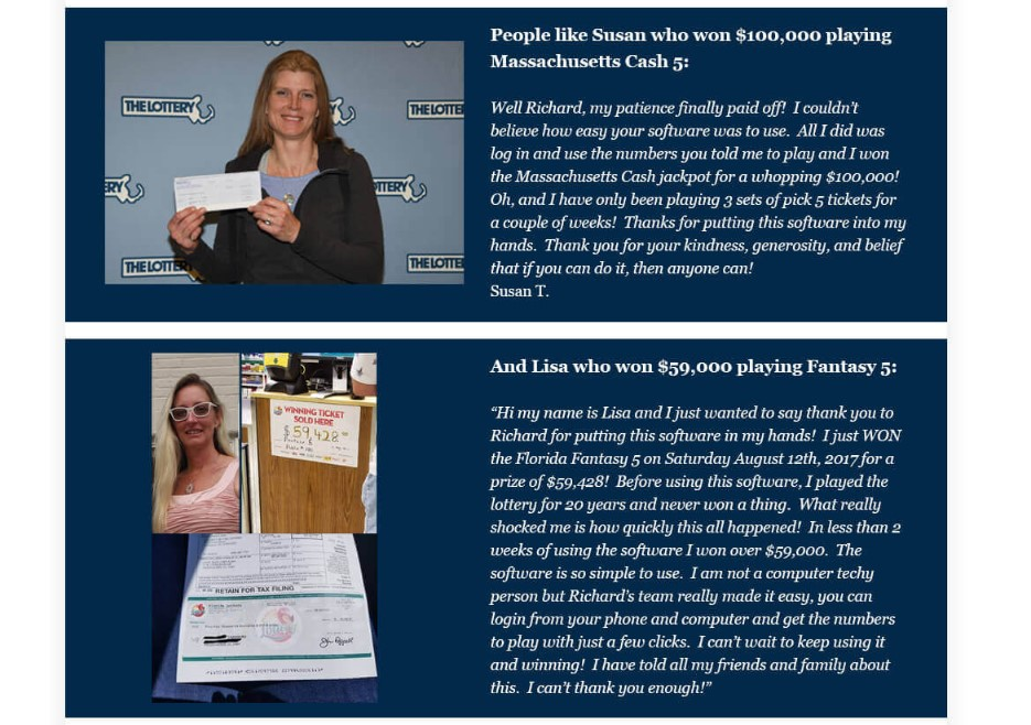 Susan's and Lisa's feedback about their big prize