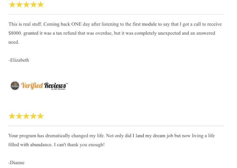 Verified reviews with 5 stars of customers